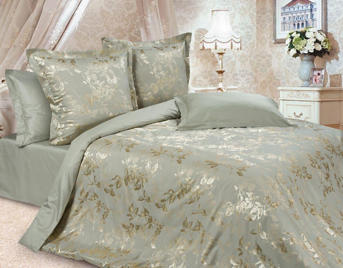 Комплект постельного белья Ecotex Эстетика Тюильри, цвет: оливковый. Евро240000Изысканная коллекция Estetica из жаккардового сатина — это утонченное удовольствие, рожденное неповторимым сочетанием перламутрового блеска и матовой сдержанности.