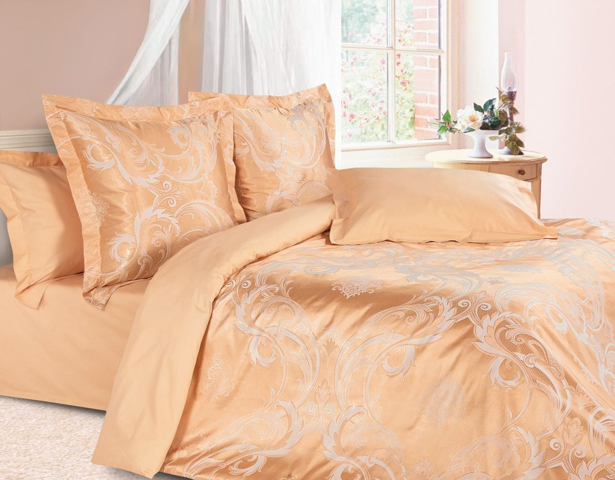 Комплект постельного белья Ecotex Эстетика Николетта, цвет: оранжевый. ЕвроS03301004Изысканная коллекция Estetica из жаккардового сатина — это утонченное удовольствие, рожденное неповторимым сочетанием перламутрового блеска и матовой сдержанности.