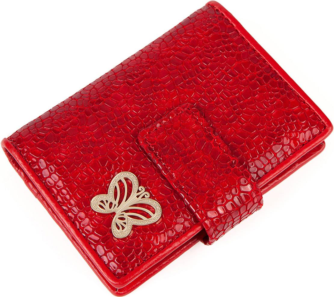 Визитница женская Labbra, цвет: красный. L053-0005INT-06501Визитница торговый марки LABBRA из натуральной кожи. Модель вмещает 24 визитных карточки, имеется потайной кармашек. Закрывается на кнопку.