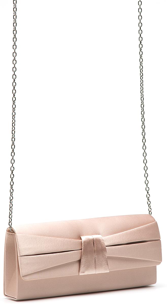 Клатч женский Eleganzza, цвет: бежевый. ZZ-13486-4BM8434-58AEЖенская сумка-клатч торговой марки ELEGANZZA. Сумка закрывается на магнит. Внутри - одно отделение, в котором есть один открытый карман. Модель имеет наплечный ремень в виде цепочки. Длина наплечного ремня - 115 см.
