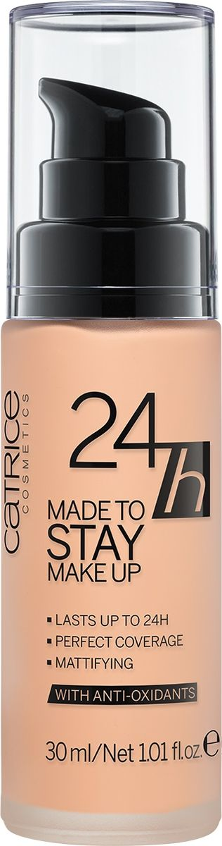 Catrice Тональная основа 24h Made To Stay Make Up 025 Warm Beige темно-бежевый, 104 гPMB 0805Жидкая тональная основа с матирующим эффектом гарантирует стойкость Вашего макияжа до 24 часов. Формула содержит активный комплекс антиоксидантов, который позволяет защитить кожу от негативного воздействия окружающей среды.