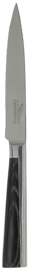 Нож универсальный Ладомир, дамасская сталь, длина лезвия 12 см. А4АСМ129/956Универсальный нож Ладомир выполнен из многослойной кованой дамасской стали (67 слоев). Очень удобная и эргономичная рукоятка изготовлена из материала pakkawood - многослойный древесный композитный материал, обладающий повышенной стойкостью к температурным, механическим и химическим воздействиям. Рукоятка оснащена цельнокованым антибактериальным больстером.Универсальный нож предназначен для разделки овощей, рыбы и других продуктов. В этом ноже воссозданы уникальные секреты производства дамасской стали, не имеющей себе равных по твердости, гибкости и остроте.Особенности универсального ножа Ладомир: - твердость по Роквеллу - HRC 59-61; - углеродные нанотрубки диаметром до 80 нанометров - режущие свойства лезвия в 2.7 раза выше, чем у обычного ножа;- износостойкость лезвия соответствует ГОСТ 23.204-78. Характеристики:Материал: многослойная кованая дамасская сталь, pakkawood. Общая длина ножа: 24 см. Размер лезвия (Д х Ш х В): 12 см х 2 см х 0,2 см. Изготовитель: Китай. Артикул: А4АСМ12.
