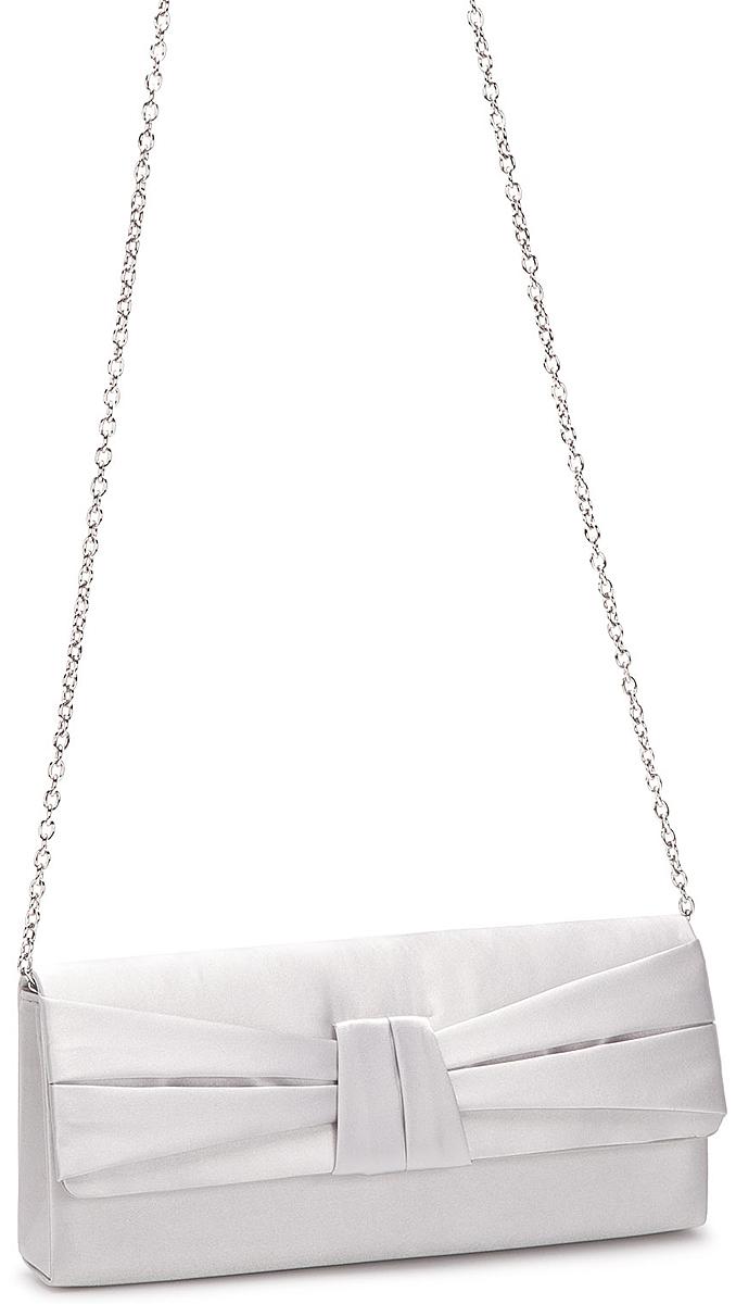Клатч женский Eleganzza, цвет: светло-серый. ZZ-13486-4BM8434-58AEЖенская сумка-клатч торговой марки ELEGANZZA выполнен из текстиля. Сумка закрывается на клапан с магнитом, украшенный атласным бантом. Внутри - одно отделение, в котором есть один открытый карман. Модель имеет наплечный ремень в виде цепочки. Длина наплечного ремня: 115 см.