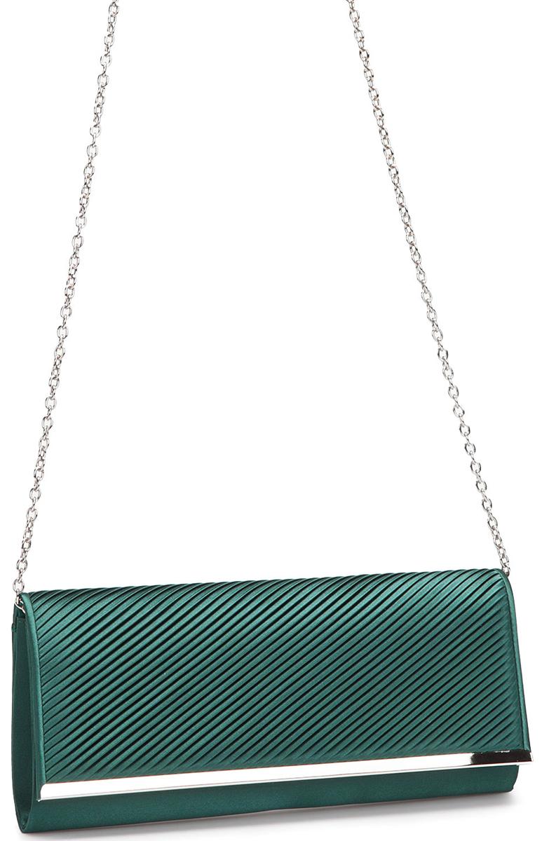 Клатч женский Eleganzza, цвет: темно-зеленый. ZZ-5783A-B86-05-CЖенская сумка-клатч торговой марки ELEGANZZA. Сумка закрывается на магнит. Внутри - одно отделение, в котором есть один открытый карман. Модель имеет наплечный ремень в виде цепочки. Длина наплечного ремня - 115 см.