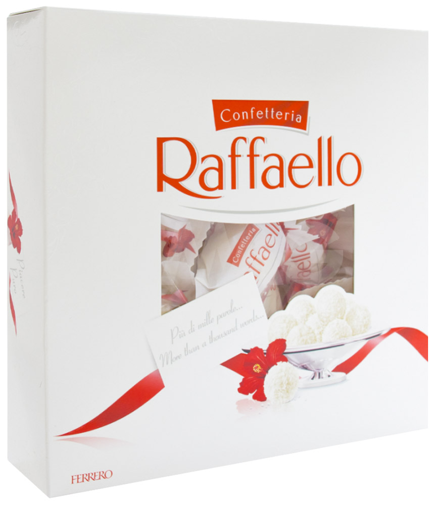 Raffaello конфеты с цельным миндальным орехом в кокосовой обсыпке, 240 г77115585/77098331/77086158Конфеты Рафаэлло с цельным миндальным орехом в кокосовой обсыпке.