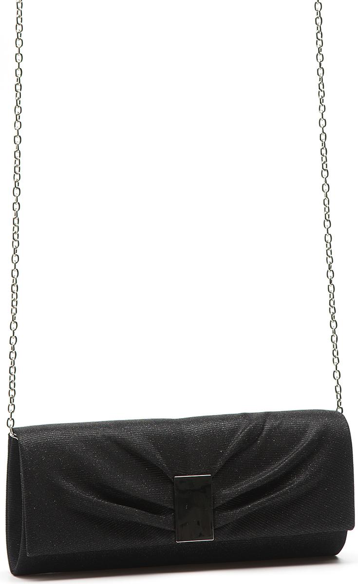 Клатч женский Eleganzza, цвет: черный. ZZ-16626-1ML597BUL/DЖенская сумка-клатч торговой марки ELEGANZZA. Сумка закрывается на магнит. Внутри - одно отделение, в котором есть один открытый карман. Модель имеет наплечный ремень в виде цепочки. Длина наплечного ремня - 115 см.