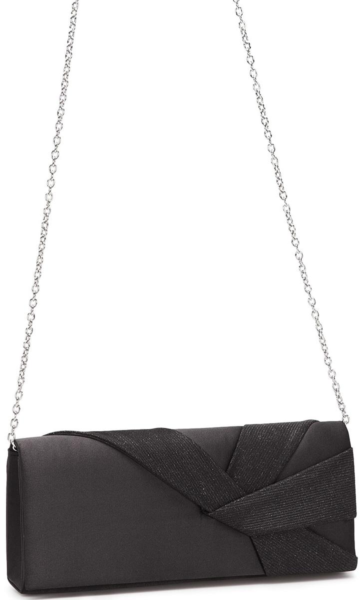 Клатч женский Eleganzza, цвет: черный. ZZ-5778101248Женская сумка-клатч торговой марки ELEGANZZA. Сумка закрывается на магнит. Внутри - одно отделение, в котором есть один открытый карман. Модель имеет наплечный ремень в виде цепочки. Длина наплечного ремня - 115 см.