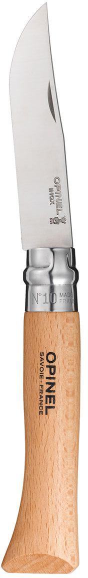 Нож Opinel n°10 нержавеющая сталь 123100123100Нож Opinel n°10 с лезвием из нержавеющей стали. Идеальный карманный нож для пикника, барбекю, походов, охоты и рыбалки. Нержавеющая сталь не требует ухода, но ее сложнее заточить до нужной остроты. Viroblock - оригинальное запорное устройство, представляющее собой кольцо с прорезью, которое, будучи повернуто относительно оси ножа, упирается в пятку клинка и не дает ножу самопроизвольно складываться при работе или раскладываться в кармане. Конструкция эта защищена патентом и устанавливается на ножи Opinel с 1955 года, начиная с модели n°6.Характеристики ножа:Материал лезвия: сталь Sandvik 12C27Материал рукояти: букТип ножевого замка: ViroblockПриспособление для открытия клинка: насечка на лезвииДлина лезвия, см: 10Длина ножа, см: 22,5Ширина лезвия, см: 2,1Длина в сложенном положении, см: 13Вес, г: 75