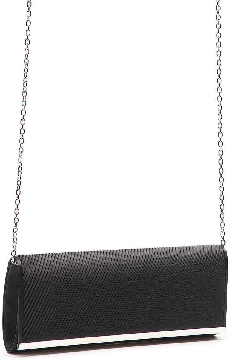 Клатч женский Eleganzza, цвет: черный. ZZ-5783101225Женская сумка-клатч торговой марки ELEGANZZA. Сумка закрывается на магнит. Внутри - одно отделение, в котором есть один открытый карман. Модель имеет наплечный ремень в виде цепочки. Длина наплечного ремня - 115 см.