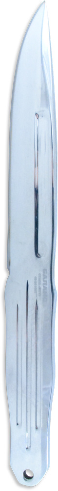 Нож метательный Ножемир Баланс, общая длина 24,5 см, цвет: стальной. M-116M-116Универсальный нож метательный M-116 Баланс вполне подойдет для неопытного пользователя, стремящегося в совершенстве научиться технике метания ножей. Каждый элемент и углубление на экземпляре выполняет свою функцию:- стальной нож имеет монолитную форму – не стоит переживать, что рукоятка отлетит;- фрезеровка на рукоятке и на клинке служит фиксацией для руки – как бы Вы не взяли нож, он не выскользнет;- окантовка рукоятки изгибается подобно маленьким волнам – палец удобно ложится по форме рукоятки;- наконечник клинка сверху немного срезан - удобно для метания ножа по волновой технике.В комплекте с ножом прилагается чехол из прочной нейлоновой ткани – кордуры.Представленный нож эргономичен в использовании, его можно метать без оборотов, в пол-оборота, многооборотной или волновой техниками. Каждый владелец будет рад такому приобретению!Длина клинка, мм - 136Толщина клинка, мм - 4Общая длина, мм - 245Материал рукояти - металлНожны - кордураСталь - 40х13Твёрдость стали - HRC 45 - 50