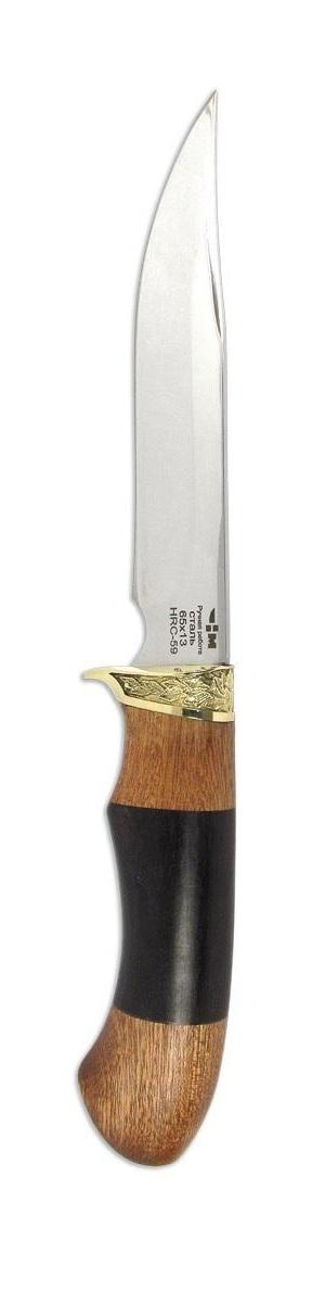 Нож охотничий Ножемир Зверобой, длина клинка 14,3 смЗВЕРОБОЙ (2095)нОхотничий нож Ножемир Зверобой, выполненный из нержавеющей стали 65х13, прекрасно держит заточку. Подойдет для длительных походов как основной нож (охотнику, рыбаку, туристу). Выделяется художественным литьем, которое так же является упором для указательного пальца, что предотвратит соскальзывания на режущую поверхность изделия. Рукоять, выполненная из граба и бубинга, позволяет работать в любую погоду (дождь, мороз) и не будит холодить ладонь. Поставляется с удобным кожаным чехлом.Общая длина ножа: 26,7 см.