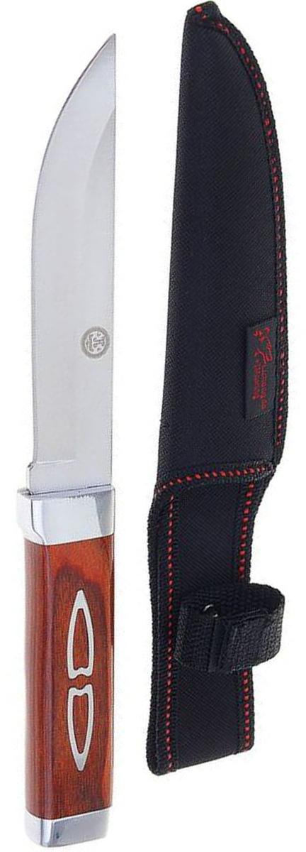 Нож Командор, 26,5 см. 12161181216118Нож Командор выполнен из стали. На рукояти изображен двойной узор. Нож практически не подвержен износу и способен служить годами. Такой инструмент будет вашим постоянным спутником во время охоты или рыбалки.Нож - неотъемлемый атрибут настоящего мужчины. Издревле ножи и клинки вручались знатным особам за проявление отваги и чести на военной службе. Такие подарки очень ценились и становились семейными реликвиями. Сегодня нож - это прекрасный подарок, который подойдет любому мужчине.Размеры: 26,5 х 3 х 2 см. В комплект чехол из текстиля.
