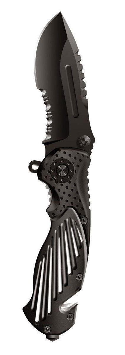 Нож складной Stinger SA-580B, цвет: черный, 8,4 см6900000429297Нож перочинный складной Stinger SA-580B. Стильный и смелый дизайн для уверенного в себе мужчины. Такой нож - аксессуар, который подчеркивает Ваше мужество, а также практичная и нужная вещьТип лезвия Drop Point. Эта форма лезвия, с понижением линии обуха к концу клинка (плавное сужение), позволяет лезвию как хорошо резать, так и наносить колющие удары. В данном ноже конец клинка имеет тыльную заточку. Значительно облегчает вход ножа в мишень при колющем ударе. Заточка полусерейторная. Примерно половина лезвия плейн (гладкая заточка), вторая половина, около основания, имеет серейтерную заточку. Подобная комбинация отлично режет канаты, плотную ткань и другие волокнистые материалы. Серейтор повреждает структуру и надрывает волокна, а гладкое лезвие завершает процесс. Открывается нож с помощью шпынька на лезвии или экстрактора на обухе. Фиксирование ножа осуществляется при помощи замка Liner Lock. Это несомненно, самый простой и один из самых надежных средств фиксации. По своей сути, это пластина, которая при открытии входит в выемку у основания лезвия и надежно запирает его Характеристики: Материал: металл. Длина лезвия: 8,4 см. Размер ножа в сложенном виде: 12,5 см х 4,5 см х 1,5 см. Размер в упаковке: 13,5 см х 5,5 см х 2,5 см.