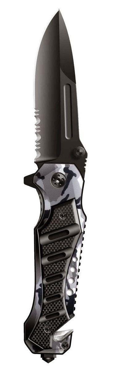 Нож складной Stinger SA-582DW, цвет: черный, камуфляж, 9 см6900000431450Нож Stinger SA-582DW всегда найдет себе применение на даче или в гараже, на рыбалке или охоте. Малые габариты делают его удобным при частой транспортировке. Лезвие выполнено из высококачественной нержавеющей стали. В открытом состоянии нож фиксируется при помощи замка Liner Lock, что значительно повышает безопасность. Благодаря особой форме ручки Stinger SA-582DW можно открывать одной рукой. Данная модель имеет полусерейторную заточку, что позволяет отлично резать плотную ткань, канаты и другие волокнистые материалы. Характеристики: Материал: металл, дерево. Длина лезвия: 9 см. Размер ножа в сложенном виде: 12 см х 4,2 см х 2 см. Размер в упаковке: 13 см х 5 см х 2,5 см.