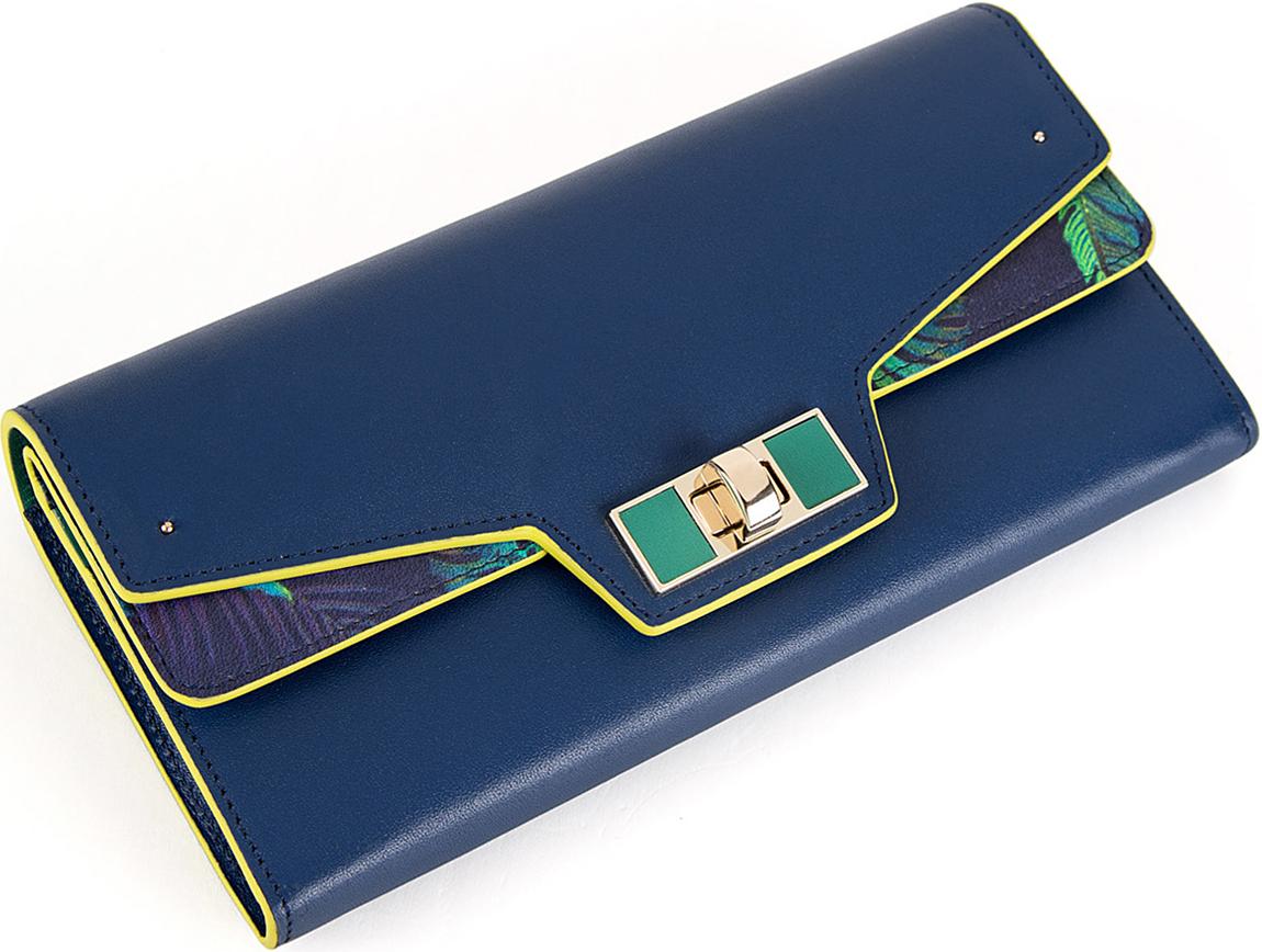 Кошелек женский Eleganzza, цвет: синий. Z4925-3820INT-06501Женский кошелёк торговой марки ELEGANZZA из натуральной кожи. Модель закрывается на клапан. Отделение для мелочи находится внутри, имеет 1 отделение и закрывается на молнию. В кошельке есть 2 не складывающихся отделения для крупных купюр, два открытый кармашка, 10 отделений для кредитных и дисконтных карт. Данный кошелек имеет потайное отделение на кнопках, в котором 2 кармашка.