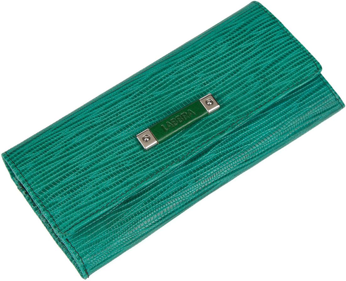 Кошелек женский Labbra, цвет: зеленый. L050-1656INT-06501Женский кошелёк торговой марки LABBRA из натуральной кожи. Модель закрывается на кнопку. В кошельке есть 2 не складывающихся отделения для крупных купюр. Отделение для мелочи - внутри, закрывается на молнию, имеет 1 отделение. Есть 12 отделений для кредитных и дисконтных карт, а также 2 потайных кармашка.