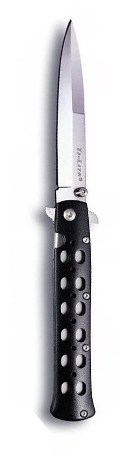 Нож складной Cold Steel Ti-Lite 4, общая длина 22,2 см. CS/26SPZ11934Складной нож Cold Steel Ti-Lite 4, выполненный в оригинальном стиле, станет отличным подарком для рыбака, охотника или человека, который ценит отдых на природе. Модельотличается характерным плоским и заостренным лезвием. В сложенном виде нож легко помещается в рукаве или потайном кармане, чулке. Закрепление клинка при сложении происходит с помощью засечки на его поверхности. Рукоятка изготовлена из алюминия, высокопрочного, ударостойкого и комфортного в применении и дополнена небольшой клипсой, которая плотно крепится к одежде. Лезвие ножа изготовлено из высококачественной нержавеющей стали.Размер ножа в открытом виде: 22,2 см.Толщина обуха: 3 мм.Длина ножа (в сложенном виде): 11,8 см.