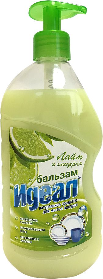 Бальзам для мытья посуды Идеал Лайм, 500 мл593901Лайм, бальзам для мытья посуды, защищает кожу рук. Растворяет жир даже в холодной воде. Не оставляет следов и запаха на посуде, легко смывается водой.