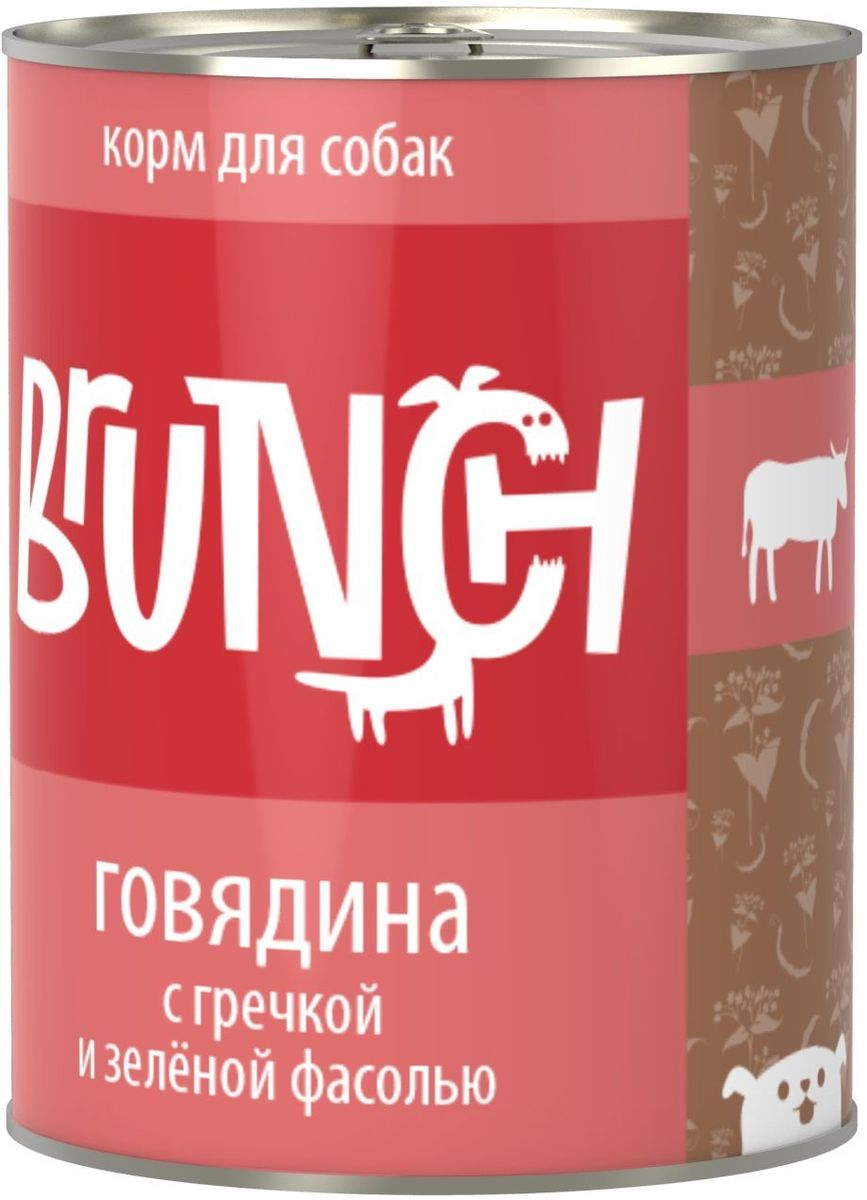Консервы для собак Brunch, говядина с гречкой и зеленой фасолью, 850 г101246Консервы Brunch для собак - полноценные мясорастительные корма из натуральных ингредиентов. Помимо мяса и субпродуктов, продукт содержит крупы (каши) и овощи. Рецептура является уникальной разработкой компании. Пропорции определены в соответствии с научными исследованиями, отвечают потребностям домашних животных в питательных веществах. Корм максимально приближен к полному рациону. Состав: говядина, сердце, рубец говяжий, печень, гречка, зеленая фасоль, морковь, масло растительное, желирующая добавка, рыбий жир, пивные дрожжи, йодированная соль, морские водоросли, розмарин, юкка шидигера, ферментированный рис. Товар сертифицирован.
