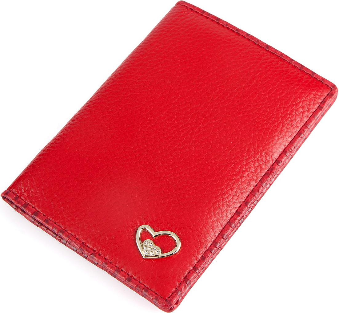 Обложка для паспорта женская Labbra, цвет: красный. L057-0011KW064-000279Обложка для документов торговой марки Labbra выполнена из натуральной кожи и оформлена стильной фурнитурой со стразами. Модель имеет 3 прорезных отделения для кредитных карт.