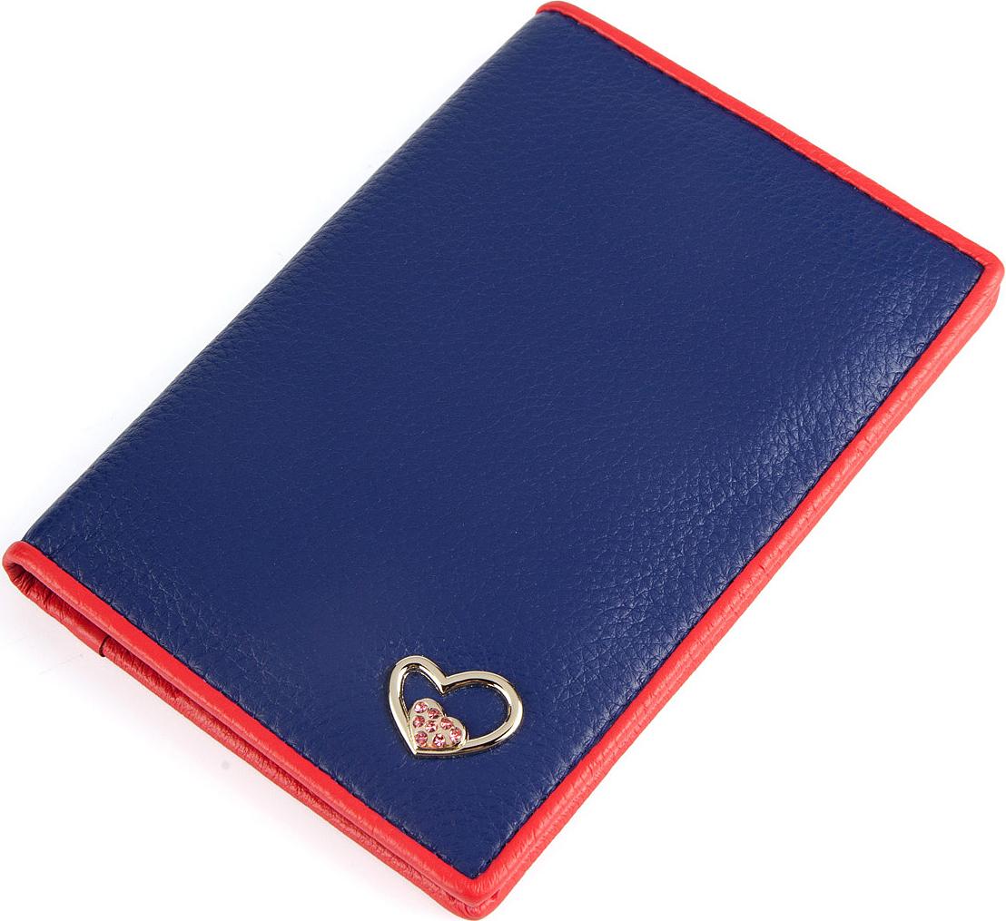 Обложка для паспорта женская Labbra, цвет: синий, красный. L057-001192537Обложка для документов торговой марки Labbra выполнена из натуральной кожи и оформлена декоративным металлическим элементом в форме сердца со стразами. Внутри предусмотрено 3 прорезных отделения для кредитных карт.