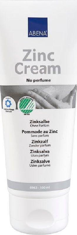 Abena Крем с оксидом цинка, 100 мл6963Крем с оксидом цинка без запаха от Abena разработан специально для раздраженной, мокнущей и поврежденной кожи тела и лица (в том числе, для лечения акне).Его можно применять в качестве барьерного крема для людей, страдающих от недержания или для подсушивания опрелостей, заживления воспаленных участков кожи.Действие:- Обладает высоким противовоспалительным эффектом и высокими дезинфицирующими свойствами.- Заживляет и способствует регенерации кожи.- Образует на коже тонкий защитный слой.Крем легко впитывается и не оставляет на коже трудносмываемой белой пленки.Непарфюмированный, подходит для ухода за кожей, склонной к аллергическим реакциям.