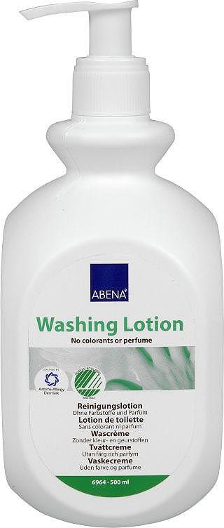 Abena Лосьон для мытья без воды без запаха, 500 млFS-00897Мягкий моющий лосьон с эффективными очищающими компонентами от Abena - это альтернатива традиционному мытью с использованием воды и мыла. Подойдет для ежедневной гигиены в ситуациях, когда количество воды ограничено или доступ к ней затруднен (дефицит воды, уход за лежачими больными и людьми с ожирением, перевозка пациентов и пр.).Эффект 3 в 1: - Эффективно удаляет потовые соли и неприятные запахи.- Увлажняет кожу.- Создает защитный слой, оставляя на коже защитную мембрану.В состав входит аллантоин, способствующий уменьшению воспаления. Лосьон не содержит силикона, красителей, отдушек и продуктов животного происхождения. Отмечен знаком Белого Лебедя стран Скандинавии.