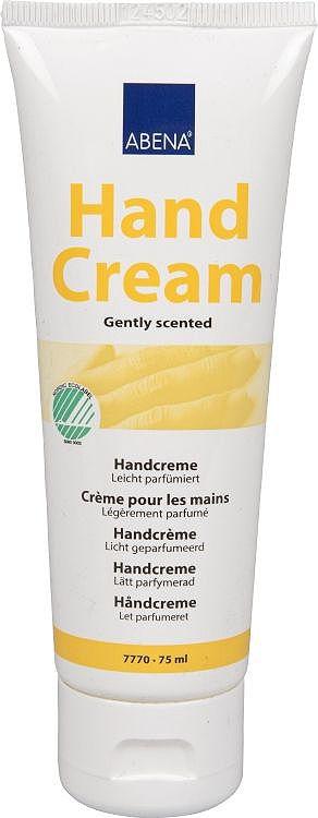 Abena Крем для рук, 75 мл7770Крем для рук без запаха от Abena для повседневного увлажнения кожи рук (особенно подходит для сухой и чувствительной кожи).Крем содержит масло Каритэ, натуральные триглицериды и витамин Е, которые разглаживают кожу рук и восстанавливают кутикулу.Быстро впитывается и не оставляет ощущения масляной пленки на коже.Не жирный и не липкий. Содержание липидов 24%. Без лубрикантов.Обладает легким приятным ароматом.