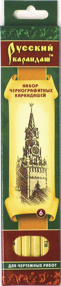 СКФ Набор чернографитных карандашей Русский карандаш 6 штСК116/06Карандаши сделаны из Сибирского кедра, без какой либо химической обработки.