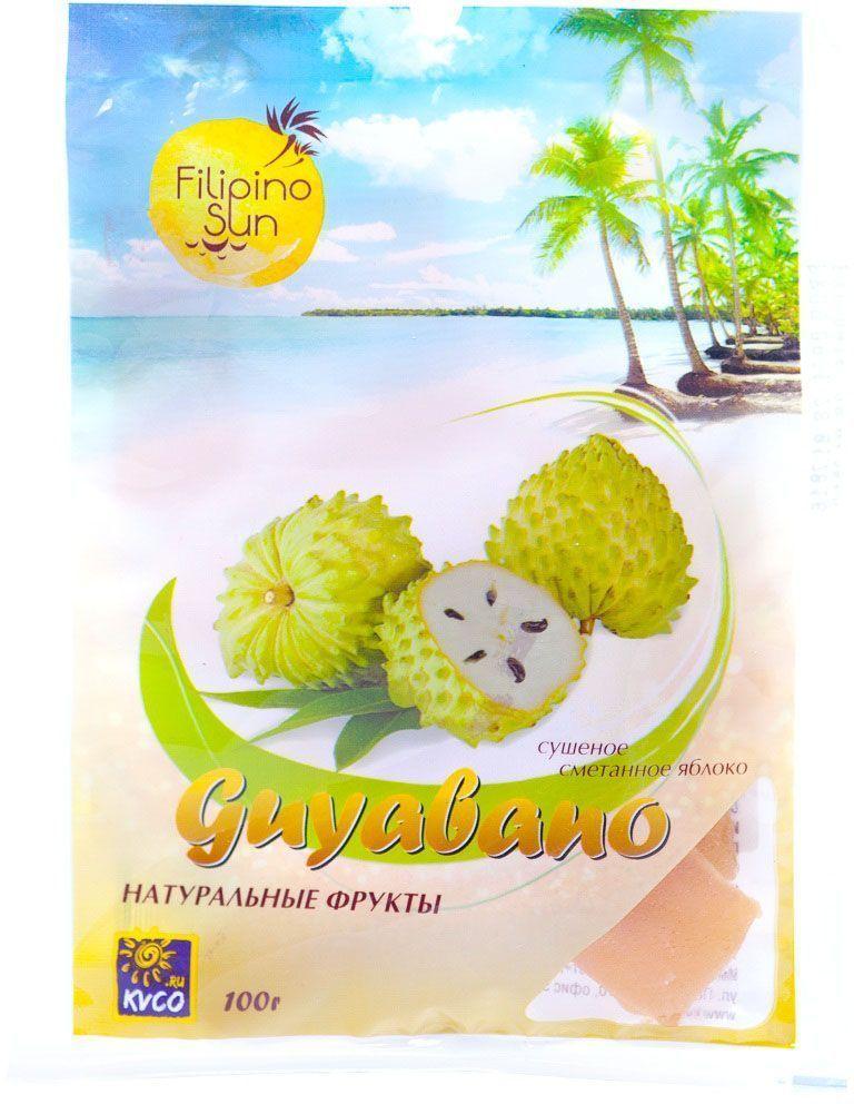 Filipino Sun сушеное сметанное яблоко, 100 г0120710Сметанное яблоко – эффективное средство в борьбе с онкологическими заболеваниями. Химическое вещество, найденное в сметанном яблоке, во много раз сильнее, чем препаратAdriamycin, используемый при химиотерапии.