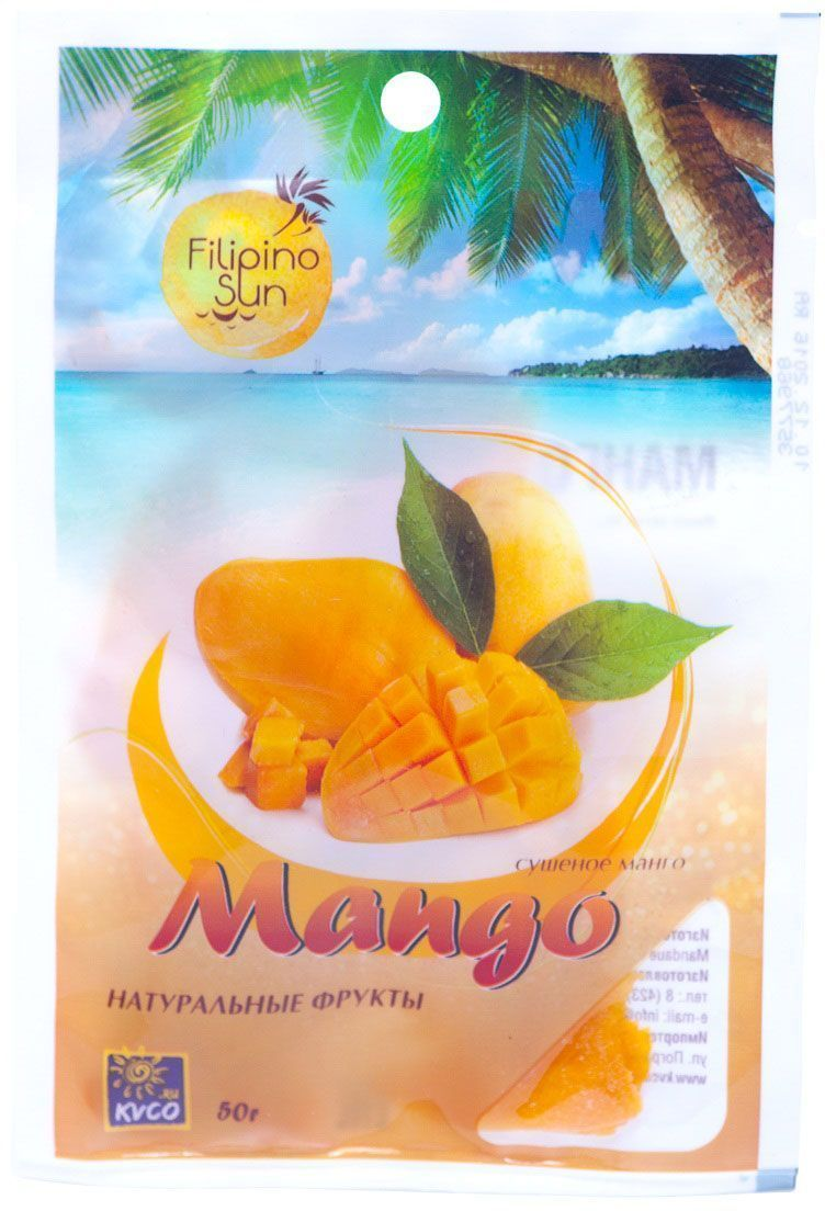 Filipino Sun сушеное манго, 50 г0120710Манго – прекрасный источник витаминови бета-каротина, активизирующих иммунную систему. Наличие антиоксидантов снижает риск развития злокачественных опухолей.