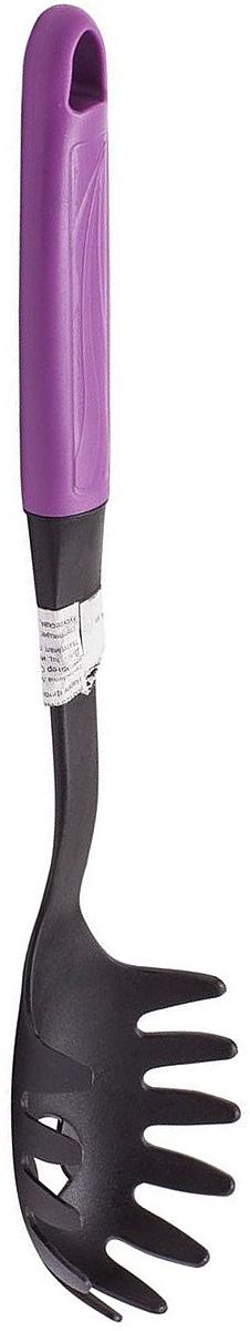 Ложка для спагетти MoulinVilla Happy , цвет: фиолетовый201069Ложка для спагетти MOULINvilla Happy  изготовлена из высококачественного пластика. Удобная пластиковая ручка со специальным покрытием soft-touch не позволит выскользнуть ложке из вашей руки, сделает приятным процесс приготовления любого блюда. Благодаря небольшому ушку на конце ручки ложку можно подвесить в удобном для вас месте на кухне. Ложка очень удобна для сервировки спагетти (длинной лапши) из кастрюли на тарелки. Специальная форма зубчиков позволяет вынимать спагетти, не повреждая их. Отверстие в ложке позволяет жидкости стекать обратно в кастрюлю.Можно мыть в посудомоечной машине.
