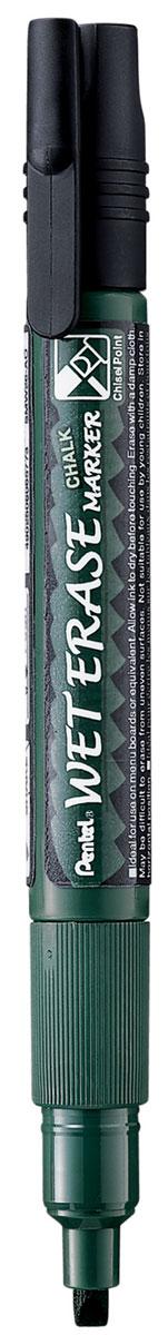 Pentel Маркер меловой Wet Erase двусторонний цвет черныйPSMW26-AМеловой маркер на водной основе Pentel Wet Erase.Безопасные, не содержащие кислот чернила маркера идеально ложатся на сухие гладкие поверхности, такие как стекло, металл, зеркало, пластик. Легко стираются влажной тканью. Надписи не текут при попадании на них влаги, идеально подходят для декорирования стекла в машине или дома. Маркер имеет двусторонний фибровый наконечник (пулеобразный/скошенный).Перед использованием вставьте наконечник нужной стороной. Наконечник легко меняется с помощью клипа-пинцета на колпачке или рукой.Маркер не подходит для меловых черных школьных досок и для любых пористых поверхностей!