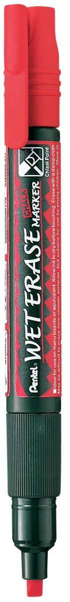 Pentel Маркер меловой Wet Erase Marker Chalk двусторонний цвет красныйPSMW26-BМеловой маркер на водной основе Pentel Wet Erase Marker Chalk.Безопасные, не содержащие кислот чернила маркера идеально ложатся на сухие гладкие поверхности, такие как стекло, металл, зеркало, пластик. Легко стираются влажной тканью. Надписи не текут при попадании на них влаги, идеально подходят для декорирования стекла в машине или дома. Маркер имеет двусторонний фибровый наконечник (пулеобразный/скошенный).Перед использованием вставьте наконечник нужной стороной. Наконечник легко меняется с помощью клипа-пинцета на колпачке или рукой.Маркер не подходит для меловых черных школьных досок и для любых пористых поверхностей!