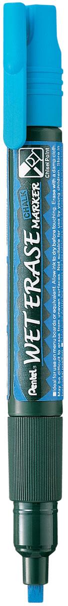 Pentel Маркер меловой Wet Erase двусторонний цвет синий72523WDМеловой маркер на водной основе Pentel Wet Erase.Безопасные, не содержащие кислот чернила маркера идеально ложатся на сухие гладкие поверхности, такие как стекло, металл, зеркало, пластик. Легко стираются влажной тканью. Надписи не текут при попадании на них влаги, идеально подходят для декорирования стекла в машине или дома. Маркер имеет двусторонний фибровый наконечник (пулеобразный/скошенный).Перед использованием вставьте наконечник нужной стороной. Наконечник легко меняется с помощью клипа-пинцета на колпачке или рукой.Маркер не подходит для меловых черных школьных досок и для любых пористых поверхностей!