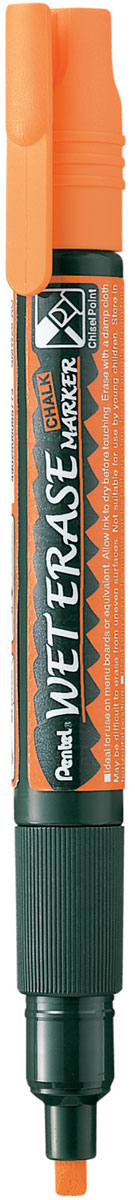 Pentel Маркер меловой Wet Erase Marker двусторонний цвет оранжевый1013851Меловой маркер на водной основе Pentel Wet Erase Marker Chalk.Безопасные, не содержащие кислот чернила маркера идеально ложатся на сухие гладкие поверхности, такие как стекло, металл, зеркало, пластик. Легко стираются влажной тканью. Надписи не текут при попадании на них влаги, идеально подходят для декорирования стекла в машине или дома. Маркер имеет двусторонний фибровый наконечник (пулеобразный/скошенный).Перед использованием вставьте наконечник нужной стороной. Наконечник легко меняется с помощью клипа-пинцета на колпачке или рукой.Маркер не подходит для меловых черных школьных досок и для любых пористых поверхностей!