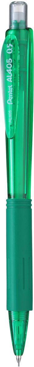 Pentel Карандаш механический цвет корпуса зеленый2010440Комфортный и надежный карандаш Pentel с трехгранной мягкой зоной захвата.Карандаш имеет прочный корпус из матового пластика зеленого цвета и металлическую убирающуюся цангу.Под колпачком карандаша находится ластик.