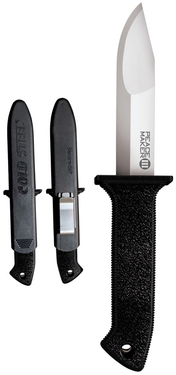 Нож Cold Steel Peace Maker III, с чехлами, общая длина 21,2 смKOCAc6009LEDОригинальный нож модели Peace Maker III, выполненный с фиксированным клинком, разработан всемирно известным производителем Cold Steel.Модель удивительно легкая и гораздо тоньше, чем многие другие тактические ножи. Нож оснащен стойкой эргономичной рукоятью из прочного пластика. Тактический клинок с гладкой заточкой и срезанной формой наконечника изготовлен из высококачественной нержавеющей стали. Модель дополнена полимерными чехлами, которые имеют клипсу из нержавеющей стали. Размер ножа в открытом виде: 21,2 см.Толщина лезвия: 2,4 мм.
