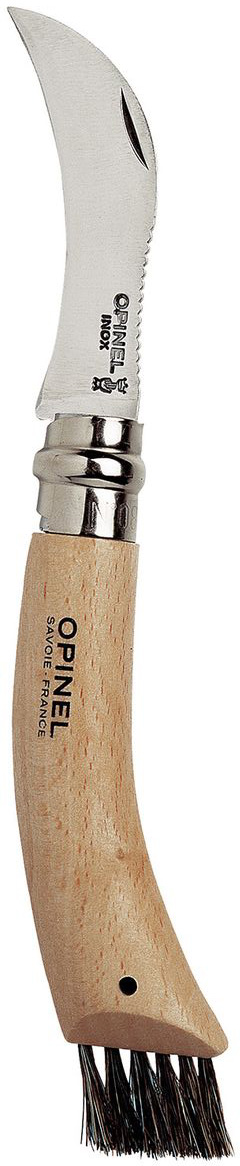 Нож Opinel для грибников n°8 нержавеющая сталь, с щеточкой 0012501250Нож Opinel для грибников n°8, с лезвием из нержавеющей стали, с щеткой. Нержавеющая сталь не требует ухода, но ее сложнее заточить до нужной остроты. Складной нож для грибников, с изогнутым лезвием и с щеткой для очистки грибов от песка, хвои, земли и травы. Идеальный спутник для тихой охоты. Viroblock - оригинальное запорное устройство, представляющее собой кольцо с прорезью, которое, будучи повернуто относительно оси ножа, упирается в пятку клинка и не дает ножу самопроизвольно складываться при работе или раскладываться в кармане. Конструкция эта защищена патентом и устанавливается на ножи Opinel с 1955 года, начиная с модели n°6.Характеристики ножа:Материал лезвия: сталь Sandvik 12C27Материал рукояти: букТип ножевого замка: ViroblockПриспособление для открытия клинка: насечка на лезвииДлина лезвия, см: 8Длина ножа, см: 18,5Длина в сложенном положении, см: 11Вес, г: 70Вес ножа с упаковкой, 80
