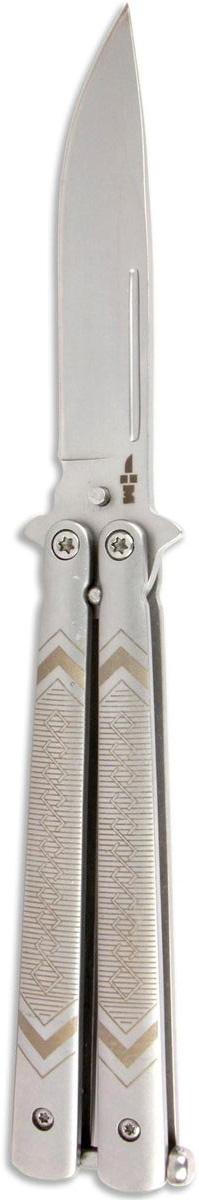 Нож балисонг Ножемир Четкий расклад, нержавеющая сталь, общая длина 19,8 см. B-103WS 7064Нож балисонг Ножемир Четкий расклад - это один из весьма узнаваемых типов ножей. Клинок ножа длиною в 8,8 см и толщиною 2,8 мм имеет острую форму танто, что позволяет с легкостью прокалывать самые прочные предметы. Лезвие выполнено из нержавеющей стали и имеет покрытие антиблик. Рукоять ножа изготовлена из металла. Конструкционной особенностью ножа является наличие удобной и прочной клипсы, которая позволяет быстро изъять нож в любой ситуации. К тому же ее отличное месторасположение не позволит утерять нож.Общая длина ножа: 19,8 см.