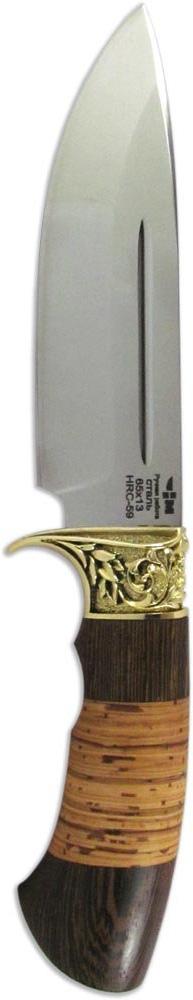 Нож Ножемир НМ-7, нержавеющая сталь, с ножнами, общая длина 26,6 см. (5185)нСЛАВА РОССИИ (4313)кНож Ножемир НМ-7 выполнит роль универсального полевого инструмента в различных климатических условиях. Широкий клинок позволяет использовать нож, как для реза, так и для рубки. Клинок ножа выполнен из нержавеющей стали и оснащен долом, который повышает надежность этой модели. Рукоять ножа выполнена из натуральных материалов и оснащена оковкой-гардой, выполненной из латунного сплава. Этот элемент украшен фигурным орнаментом. Нож комплектуется удобным кожаным чехлом.Общая длина ножа: 26,6 см.Твердость стали: 57-59 HRC.