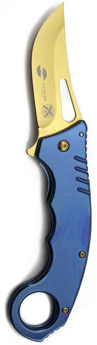 Нож складной Stinger, с клипом, 133 мм, цвет: синий. FK-S046FK-S046Складные ножи Stinger изготовлены из нержавеющей стали, прочных пород древесины и различных полимеров. Ножи выполнены в современном, военном и классических стилях. Они будут отличным подарком для рыбака, охотника, спортсмена или человека, который центи отдых на природе. Лезвие и рукоять из нержавеющей стали, с клипом, черный, в подарочной коробке. Размер ножа в открытом виде - 222 мм, толщина лезвия - 3 мм.