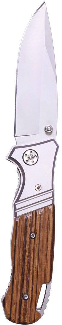 Нож складной Stinger HJ-083AW, цвет: серебристый, коричневый, 8,7 см6900000431887Нож складной Stinger HJ-083AW с клипом всегда найдет себе применение на даче или в гараже, на рыбалке или охотеНожи этой марки отличаются современными технологиями изготовления. Контроль качества, надежность, прочная сталь, ультрасовременный дизайн, эргономичность ручек, невысокая цена — именно эти качества позволили ножам Stinger завоевать прочный успех, как среди молодых энергичных людей, так и у старшего поколения. Характеристики: Материал: металл, дерево. Длина лезвия: 8,7 см. Размер ножа в сложенном виде: 11,5 см х 3,5 см х 2 см. Размер в упаковке: 13 см х 5 см х 2,5 см.
