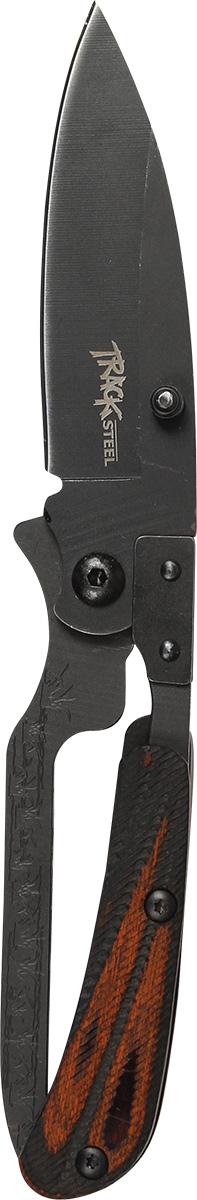 Нож складной Track Steel. 5544103H-214 НожемирСкладной нож Track Steel всегда найдет себе применение на даче или в гараже, на рыбалке или охоте. Малые габариты делают его удобным при частой транспортировке. Лезвие выполнено из высококачественной нержавеющей стали. Изделие имеет удобную рукоятку. Нож снабжен прочным чехлом из нейлона.Длина клинка: 60 мм.Толщина клинка: 2,4 мм.Общая длина ножа: 180 мм.