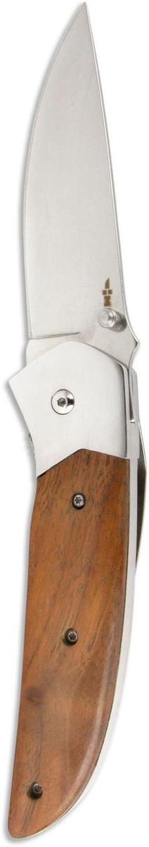 Нож складной Ножемир Четкий расклад, нержавеющая сталь, общая длина 21,4 см. C-150WS 7064Классический складной нож Ножемир Четкий расклад подойдет для продолжительных походов на природу, либо как дублирующий нож для основного. Лезвие с зеркальной полировкой выполнено из нержавеющей стали. Рукоять изготовлена из стабилизированного дерева. Фиксатор Liner Lockпредотвращает нежелательно сложение изделия. Небольшие размеры в сложенном виде обеспечивают легкую транспортировку ножа. При помощи клипсы нож можно повесить на ремень.Общая длина ножа: 21,4 см.Твердость стали: 55-56 HRC.