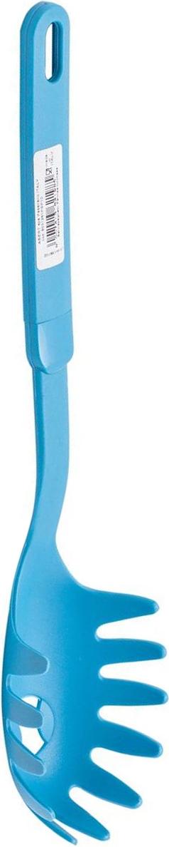 Ложка для спагетти MoulinVilla Palmas, цвет: бирюзовыйFS-91909Ложка для спагетти MOULINvilla Palmas изготовлена из высококачественного пластика. Удобная пластиковая ручка со специальным покрытием soft-touch не позволит выскользнуть ложке из вашей руки, сделает приятным процесс приготовления любого блюда. Благодаря небольшому ушку на конце ручки ложку можно подвесить в удобном для вас месте на кухне. Ложка очень удобна для сервировки спагетти (длинной лапши) из кастрюли на тарелки. Специальная форма зубчиков позволяет вынимать спагетти, не повреждая их. Отверстие в ложке позволяет жидкости стекать обратно в кастрюлю.Можно мыть в посудомоечной машине.