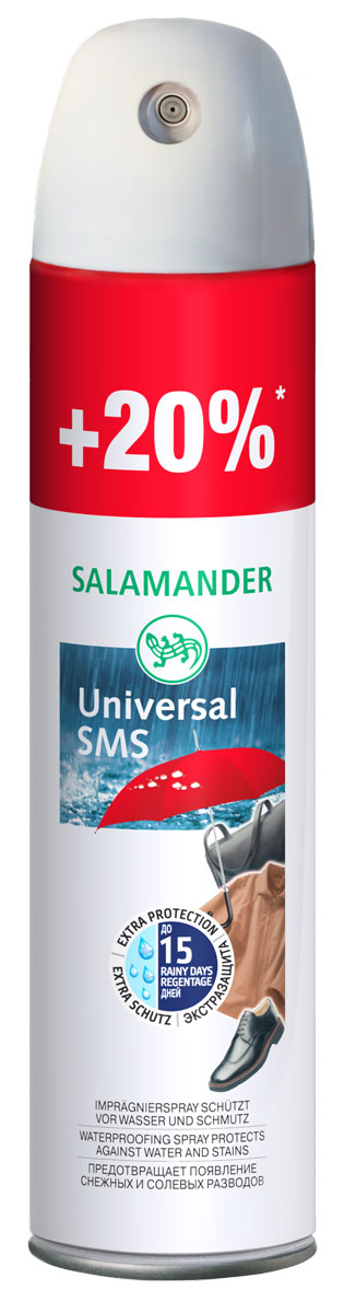Пропитка водоотталкивающая Salamander Universal SMS для гладкой кожи, замши и текстиля, 300 млIRK-503Пропитка водоотталкивающая Salamander Universal SMS эффективно защищает изделия из гладкой кожи, замши и текстиля от влаги и грязи. Предотвращает образование снежных, водных и солевых разводов. Не пригодна для лаковой кожи!Объем: 300 мл. Состав: более 30%: алифатические углеводороды (Алканы, циклоалканы, бутан, пропан), изопропиловый спирт, фторуглеродный полимер.Товар сертифицирован.