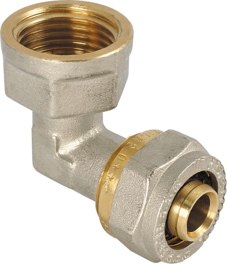 RVC Угольник 20х3/4 ц/г RCBL505Угольник предназначен для соединения металлопластиковых труб. При установке данного фитинга не требуется специальное оборудование, достаточно разводного ключа. Соединение получается разъемным, что позволяет при необходимости произвести обслуживание участка трубопровода. Для обслуживания самого фитинга достаточно сменить уплотнительные кольца. Рабочая температура до 95 С, нормативное рабочее давление до 10 бар. Материал корпуса - никелированная латунь CW617N.