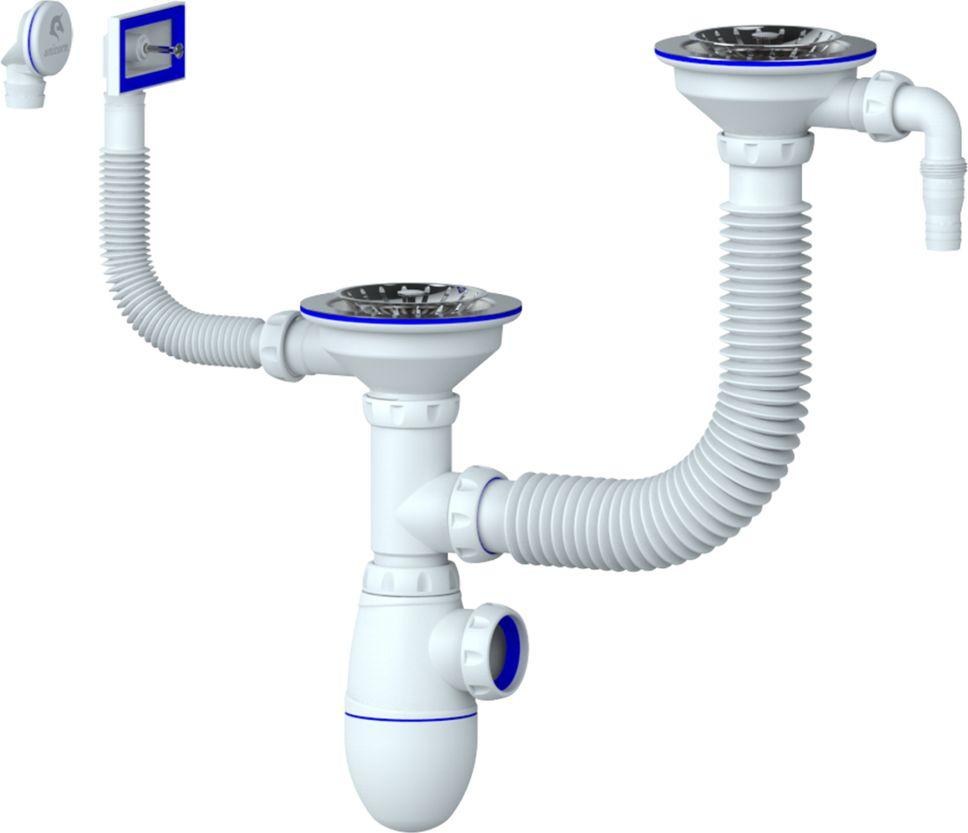 Unicorn Сифон кухни 1.1/2х40 двойной. B745VBL505Сифон для двойной мойки разноуровневый с выпуском 1 1/2 (диаметр 40)- с гибким соединением- с нержавеющими чашками диаметр 112- с прямоугольным вертикальным и круглым переливом- с отводом для стиральной/посудомоечной машины- без отвода в канализациюПрименениедля мойки