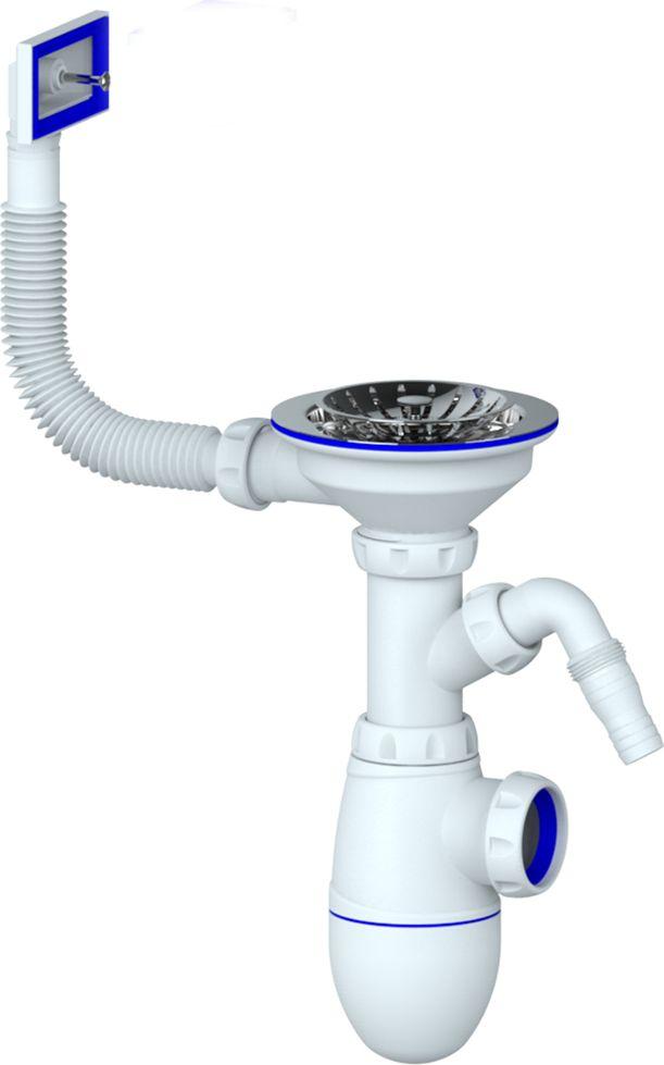 Unicorn Сифон для кухни 3.1/2х40, с универсальной гофротрубой 40х40/50. B435VBL505Сифон для мойки с выпуском 1 1/2 (диаметр 40)- с прямоугольным вертикальным переливом- с нержавеющей чашкой диаметр 112- с отводом для стиральной/посудомоечной машины- без отвода в канализациюПрименение- для мойки